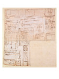 Sketch of Marble Blocks for Statues with Notes Giclee Print by  Michelangelo Buonarroti
