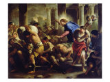 Christ Driving the Merchants from the Temple Lámina giclée por Luca Giordano