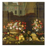 Still Life with Flowers, Fruits and Shells Giclee Print by Balthasar van der Ast