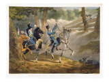 Saxon Hussars attacked by French infantry from an Ambuscade, from 'Military Evolutions' Giclee Print by Conrad Gessner