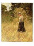 A Girl Harvesting Hay Giclee Print by Eugene Leon Labitte