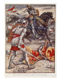 Sir Lancelot forbids Sir Bors to Slay the King, from 'Stories of Knights of Round Table' Giclee Print by Walter Crane