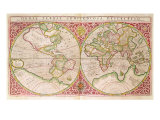 Double Hemisphere World Map, 1587 Giclee Print by Gerard Mercator