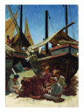 Anzio, The Port Giclee Print by Ernest Antoine Hebert