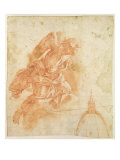 Suspended Angel and Architectural Sketch, c.1600 Giclee Print by Bernardino Barbatelli Poccetti