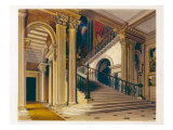 Stair Case, Buckingham House, 'The History of Royal Residences', engraved by William James Bennett Giclee Print by Richard Cattermole