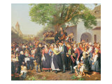 Peasant Wedding in Lower Austria Giclee Print by Ferdinand Georg Waldmuller