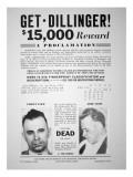 Reward Poster for John Dillinger, 1933 Giclee Print
