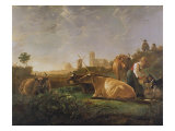 A Distant View of Dordrecht with Sleeping Herdsman and Five Cows Giclee Print by Aelbert Cuyp