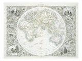 Eastern Hemisphere, from Series of World Maps, New York and London, 1850s Giclee Print by John Rapkin