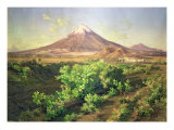 A Small Volcano in Mexican Countryside, 1887 Giclee Print by Jose Velasco