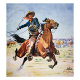 Texas Cowboy Giclee Print by Stanley L. Wood