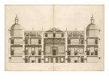 Houghton Hall: Section of the West front, Engraved by Pierre Fourdrinier, 1735 Giclee Print by Isaac Ware