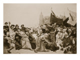Alva&#39;s Statue Being Dragged Through the Streets of Antwerp Gicl&#233;e-Druck von Raoul Charles Verlet