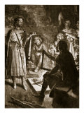 King Canute and the Poet, Illustration from &#39;Hutchinson&#39;s Story of the British Nation&#39;, C.1920 Giclee Print by Ernest Prater