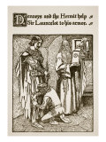 Denneys and Hermit Help Him to Armor, Illustration, 'The Story of Sir Launcelot and His Companions' Giclee Print by Howard Pyle