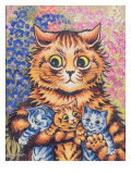 A Cat with her Kittens Giclee Print by Louis Wain