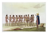 War Dance of Caroline Islanders, Plate 22 from 'Le Costume Ancien et Moderne' by Jules Ferrario Giclee Print by Vittorio Raineri