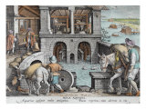 A Water Mill, plate 11 from 'Nova Reperta' Giclee Print by Jan van der Straet