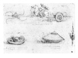 Design for a Scythed Chariot and Armoured Car, c.1487 Giclee Print by Leonardo da Vinci 