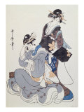 Two Female Figures Lmina gicle por Utamaro Kitagawa