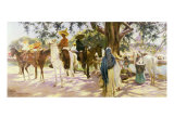 Market day at San Gabriel Giclee Print by Pedro Ribera