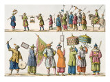 Principal Attendants of Chinese Emperor's Procession, Illustration Giclee Print by Gaetano Zancon