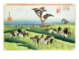 Horse Fair, Ciryu, from the series '53 Stations of the Tokaido Road, published 1833-34 Giclee Print by Ando Hiroshige