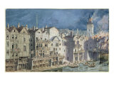 Fire at the Pont aux Meuniers in 1621 Giclee Print by Theodor Josef Hubert Hoffbauer