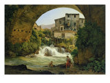 Under the Arch of a Bridge in Italy, 1822 Giclee Print by Joseph Rebell