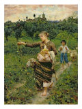 Shepherdess Carrying a Bunch of Grapes Giclee Print by Francesco Paolo Michetti
