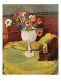Vase of Flowers, Anemones in a White Glass Giclée-Druck von Marie Clementine Valadon