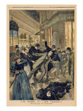 A Bomb at Cafe Terminus, the Arrest of Assassin, Illustration from 'Le Petit Journal' Giclee Print by Oswaldo Tofani