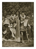 The Homage, the Largesse and the General Pardon at Coronation of James I and Anne of Denmark Giclee Print by Richard Caton Woodville