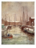 A Groningen Canal in Early Winter, 1904 Giclee Print by Nico Jungman