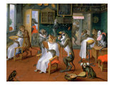 Barber's Shop with Monkeys and Cats Giclee Print by Abraham Teniers
