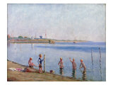Boys at Water's Edge Giclee Print by Johan Rohde