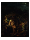 A Philosopher by Lamp Light, exh. 1769 Giclee Print by Joseph Wright of Derby