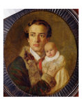 Portrait of Alexander Herzen with his son, 1840 Giclee Print by Alexander Lavrentievich Vitberg