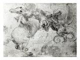Battle between a Rider and a Dragon, c.1482 Giclée-Druck von  Leonardo da Vinci
