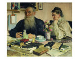 Leo Tolstoy with His Wife in Yasnaya Polyana, 1907 Giclee Print by Ilya Efimovich Repin