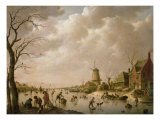Skaters on a Frozen Canal, 1779 Giclee Print by Hendrik Willem Schweickardt