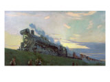 Super Power Steam Engine, 1935 Giclee Print by Arkadij Aleksandrovic Rylov