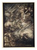 The ride of the Valkyries, illustration from 'The Rhinegold and the Valkyrie', 1910 Gicléetryck av Arthur Rackham