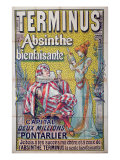 Poster advertising &#39;Terminus&#39; absinthe, starring Sarah Bernhardt and Constant Coquelin Giclee Print by Francisco Tamagno