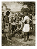 Paying Rent in Saxon Times, Illustration from 'Hutchinson's Story of the British Nation', C.1920 Giclee Print by Ernest Prater