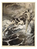 Rhinemaidens obtain possession of ring, illustration from 'Siegfried and the Twilight of Gods' Giclee Print by Arthur Rackham
