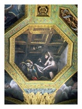 Psyche sees Cupid while he Sleeps, Ceiling Caisson from the Sala di Amore e Psiche, 1528 Giclee Print by Giulio Romano