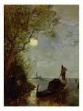 Moonlit Scene with Gondola Giclee Print by Felix Ziem