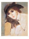 Woman in Black Gloves Giclee Print by Jozsef Rippl-Ronai